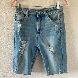 Wax Jean Denim Distressed Biker Shorts